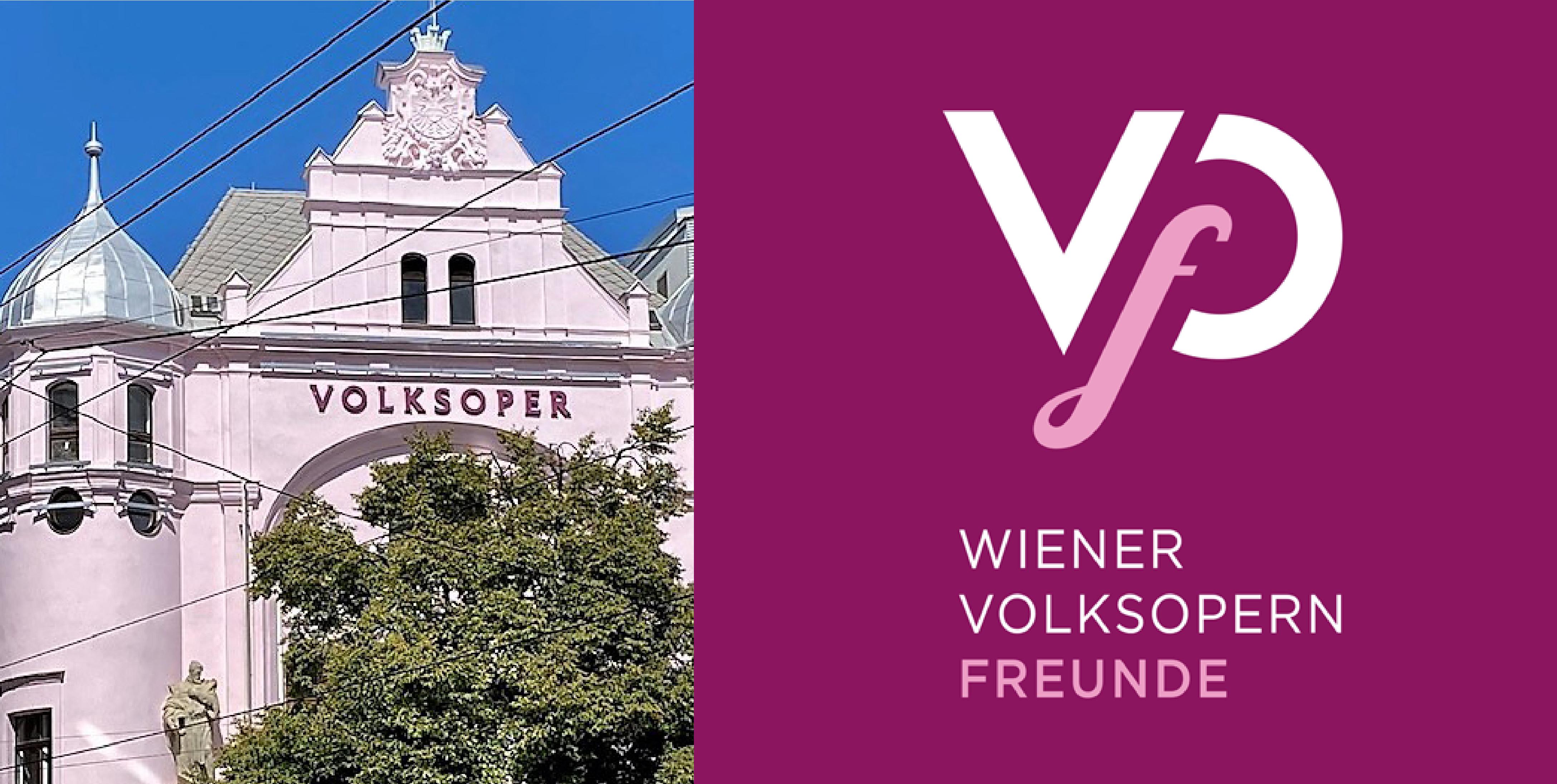 Gebäude der Wiener Volksoper © Volksoper Wien, Logo VOF